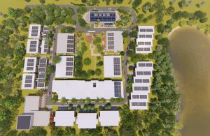 Aerial view of Tallow Creek Village solar panels and roofs